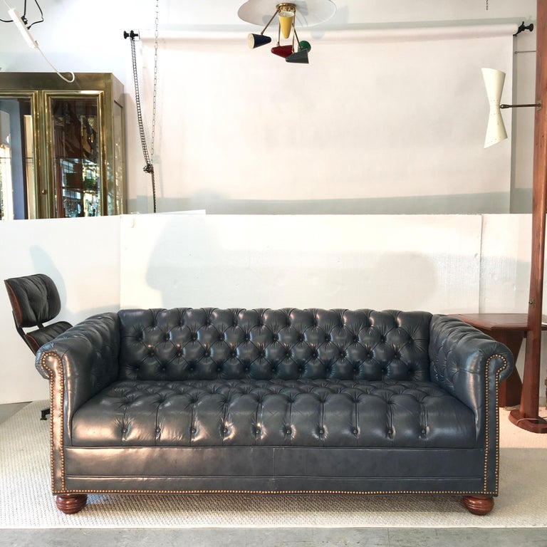 American Vintage Chesterfield Sofa in Slate Blue Leather For Sale