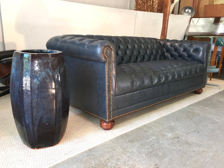 Vintage Chesterfield Sofa in Slate Blue Leather For Sale 3
