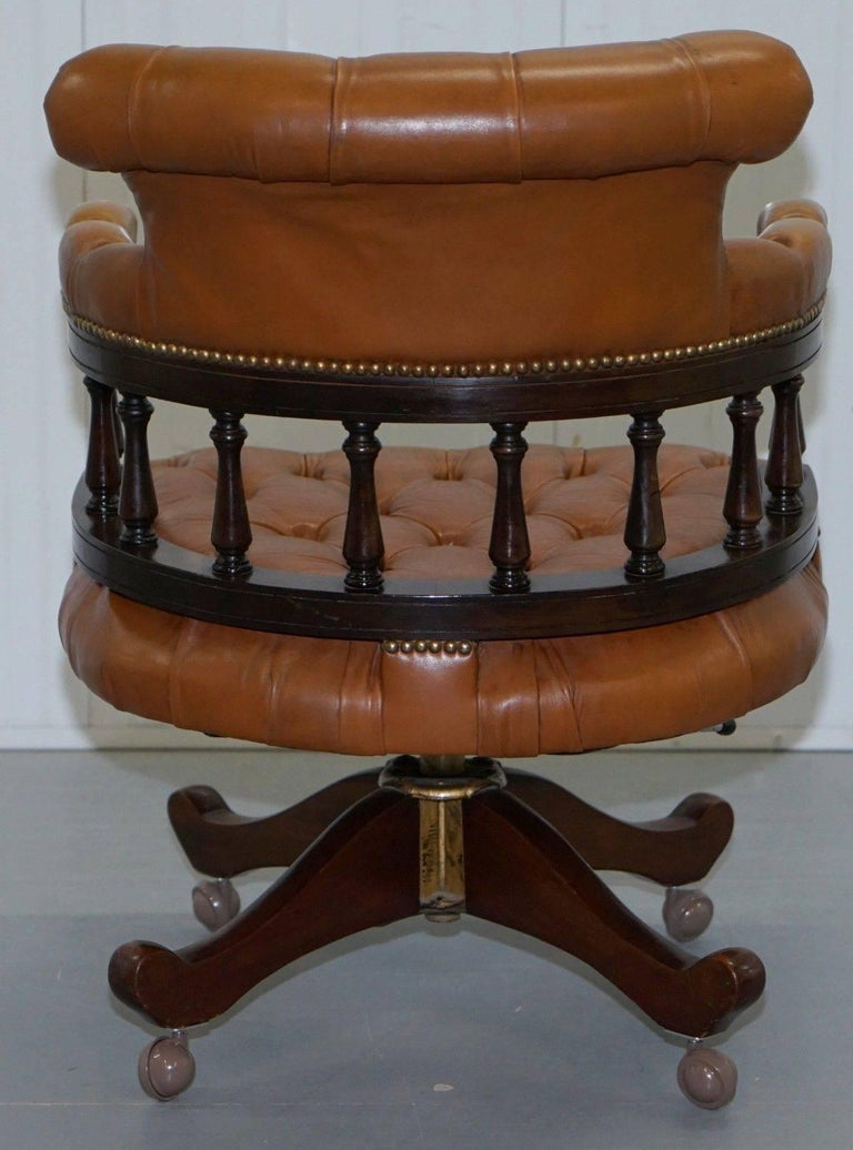 Vintage Chesterfield Tan Brown Leather Captains Directors