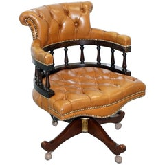 Vintage Chesterfield Tan Brown Leather Captains Directors Office Swivel Chair