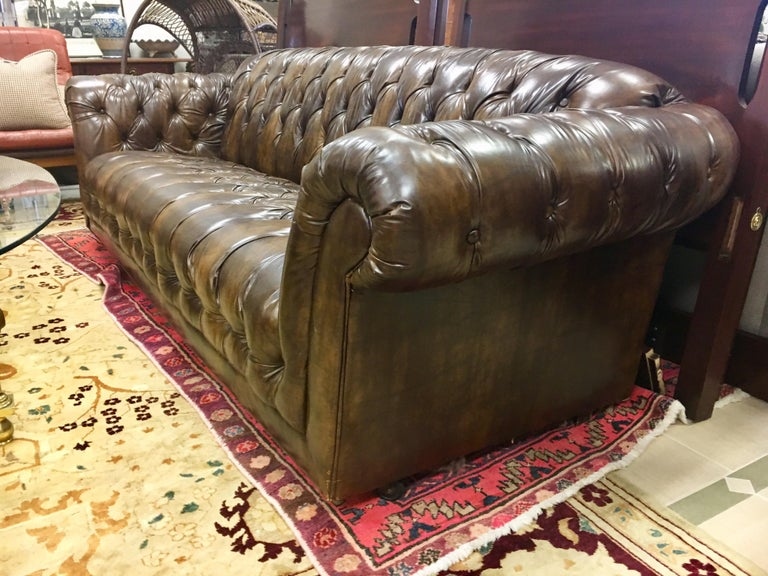 Vintage Chesterfield Tufted Sofa Made in England in Dark Brown For Sale 3
