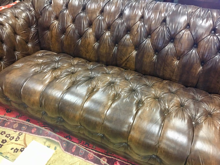 Vintage Chesterfield Tufted Sofa Made in England in Dark Brown For Sale 4