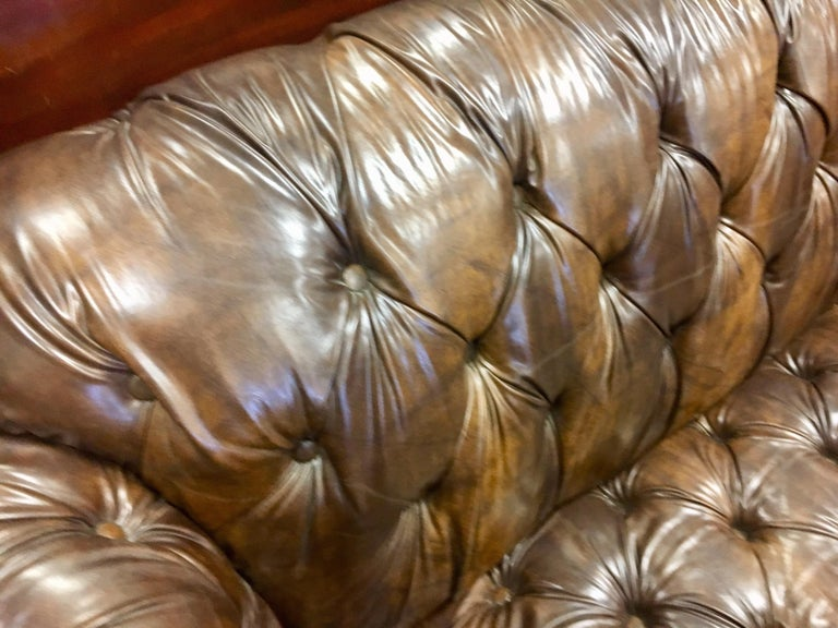 Vintage Chesterfield Tufted Sofa Made in England in Dark Brown For Sale 9
