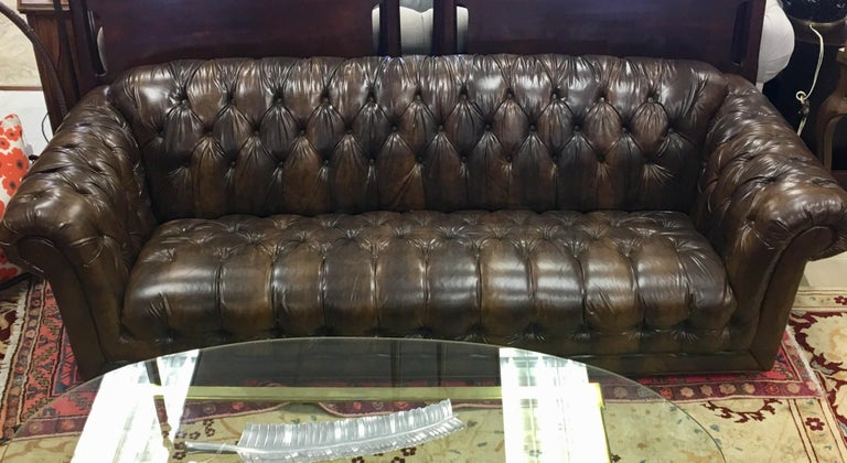 English Vintage Chesterfield Tufted Sofa Made in England in Dark Brown For Sale