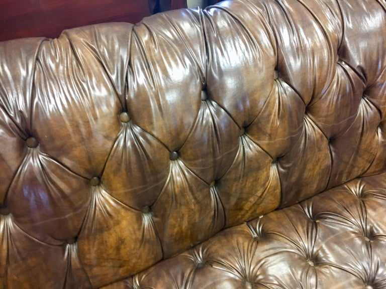 Vintage Chesterfield Tufted Sofa Made in England in Dark Brown In Good Condition For Sale In West Hartford, CT