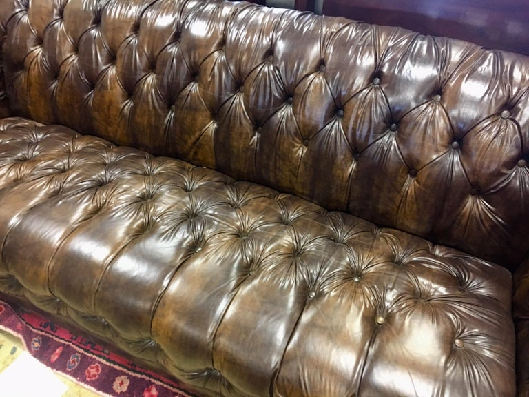 Mid-20th Century Vintage Chesterfield Tufted Sofa Made in England in Dark Brown For Sale