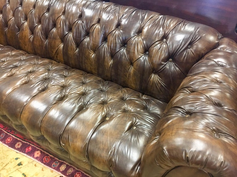 Vintage Chesterfield Tufted Sofa Made in England in Dark Brown For Sale 1