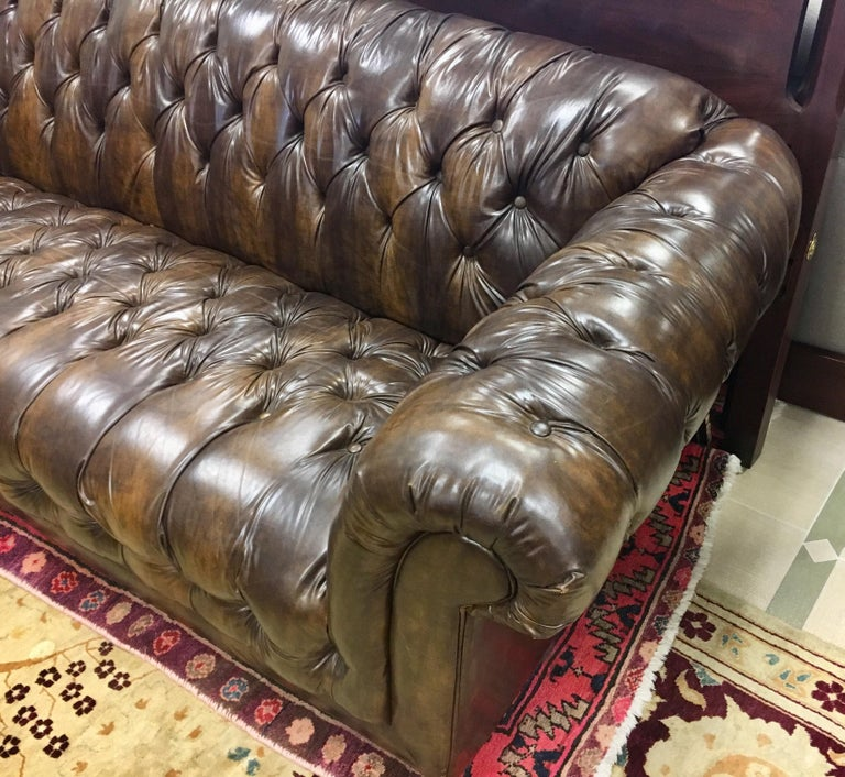 Vintage Chesterfield Tufted Sofa Made in England in Dark Brown For Sale 2