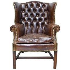 Vintage Chesterfield Wing-Back Chair with Tufted Brown Leather