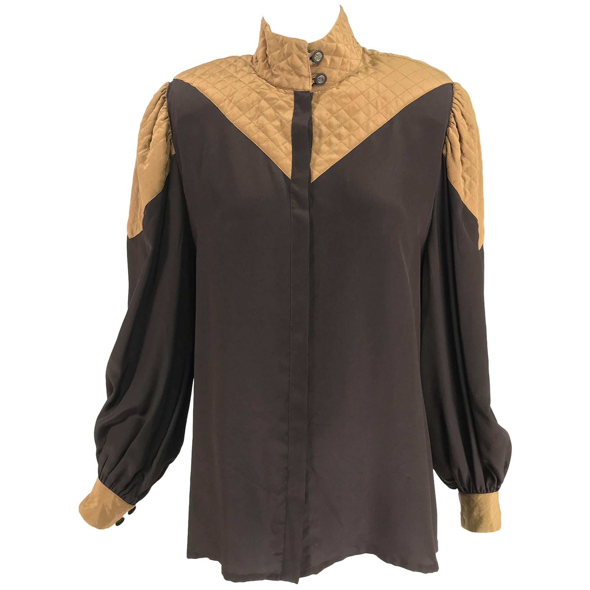 Vintage Chez Catherine Quilted Silk Blouse 1980s