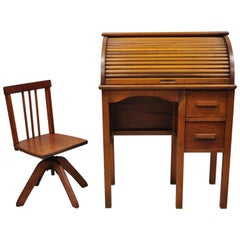 Vintage Children's Size Child's Roll Top Writing Desk and School Chairs, a Set