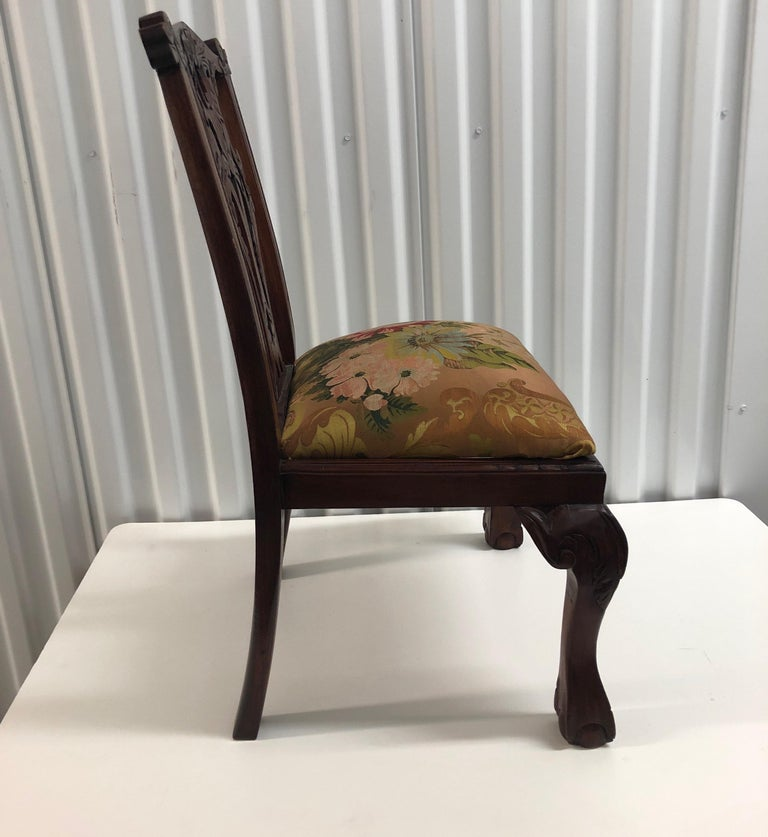 Hand-Crafted Vintage Child's Chair Upholstered with an 18th Century French Silk Textile For Sale