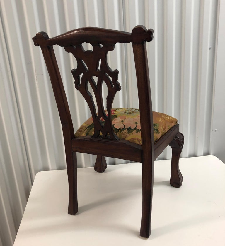 Vintage Child's Chair Upholstered with an 18th Century French Silk Textile For Sale 1