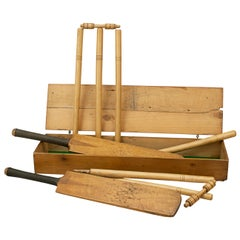 Vintage Childs Cricket Set, Cricket Bats in Pine Box, the County Cricket Set
