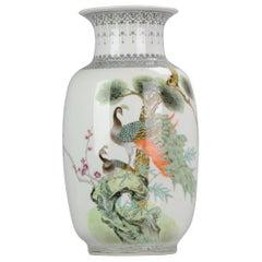 Vintage China 20th Century Peacock Vase Chinese Porcelain PROC