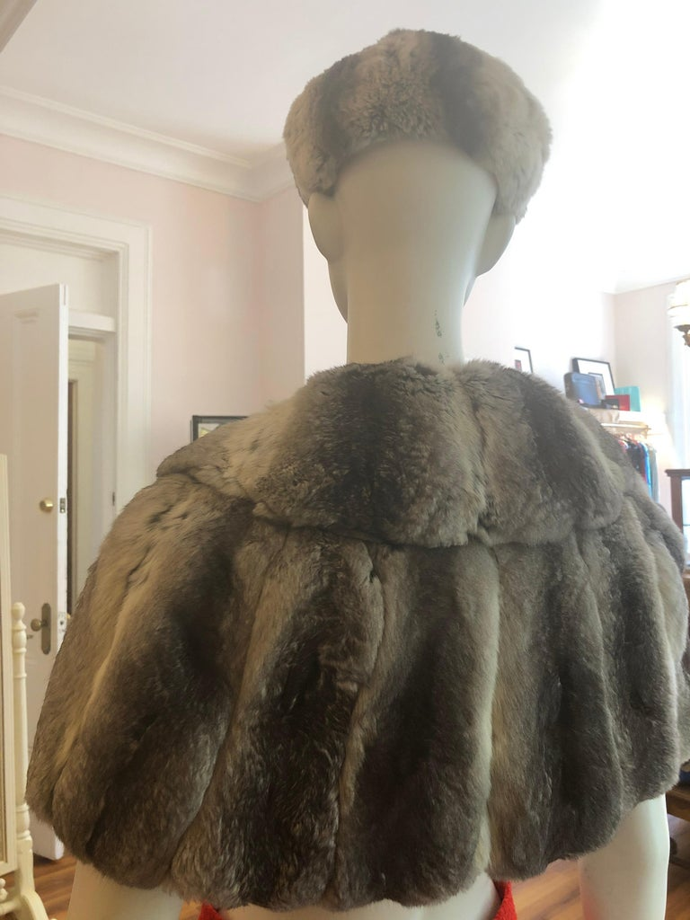 Vintage Chinchilla Stole/Cape and Hat  For Sale 1