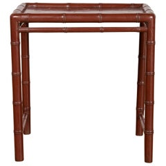 Vintage Chinese 1950s Bamboo Side Table with Brownish Patina and Recessed Top