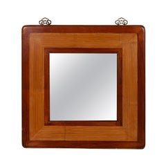 Vintage Chinese 1950s Two-Toned Elm and Rattan Square Mirror with Beveled Glass