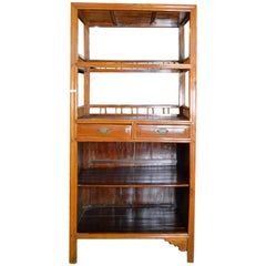 Vintage Chinese 1960s Bar Cabinet with Three Shelves and Two Drawers