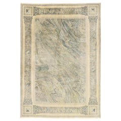 Vintage Chinese Abstract Marble Print Rug with Modern Neoclassical Baroque Style