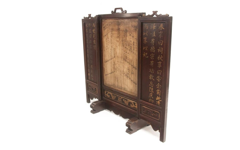 Vintage Chinese Ancestral Decorative Folding Table Screen For Sale 4