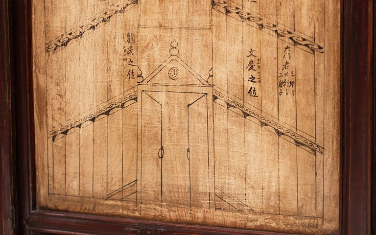 Vintage Chinese Ancestral Decorative Folding Table Screen In Good Condition For Sale In STOKE ON TRENT, GB