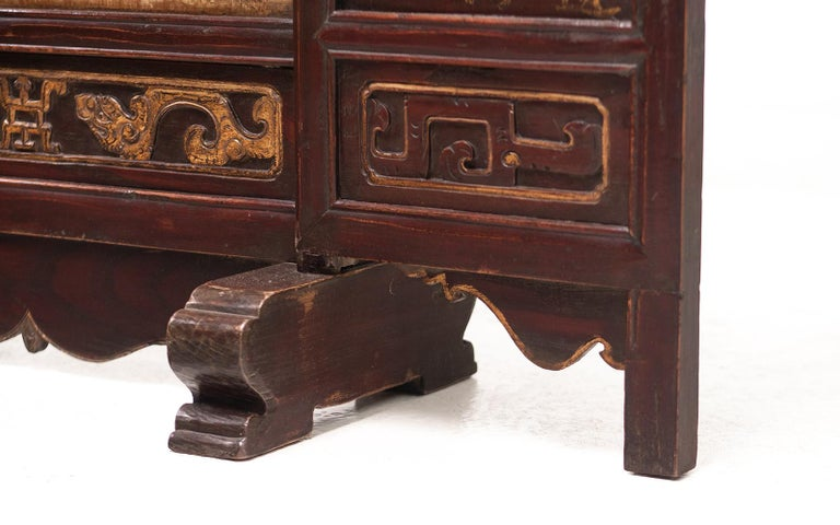 Wood Vintage Chinese Ancestral Decorative Folding Table Screen For Sale