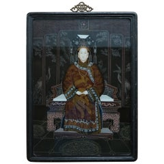 Vintage Chinese Ancestral Portrait Hand Painted Glass a Window to Another Time