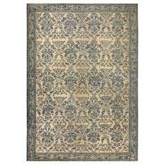 Vintage Chinese Art Deco Dark Blue and Beige Handmade Wool Rug