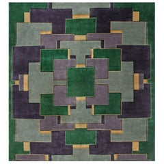 Midcentury Chinese Art Deco Gold, Green & Purple Handmade Wool Rug