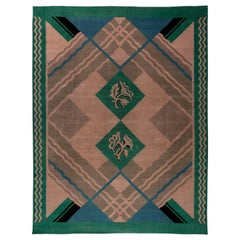 Vintage Chinese Art Deco Green, Blue and Beige Handwoven Wool Rug