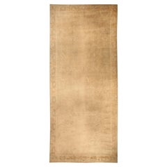 Vintage Chinese Art Deco Ivory and Tan Handwoven Wool Rug