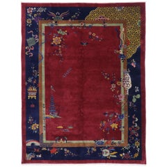 Antique Chinese Art Deco Pictorial Rug Inspired by Walter Nichols