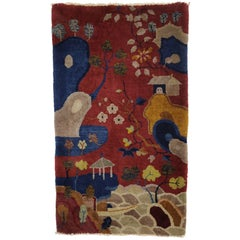 Vintage Chinese Art Deco Pictorial, Maximalism Tapestry Wall Hanging