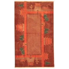 Vintage Chinese Art Deco Red and Green Handmade Wool Rug
