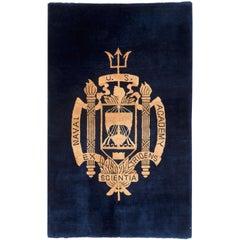 Midcentury Handmade United States Naval Academy Rug in Navy Blue