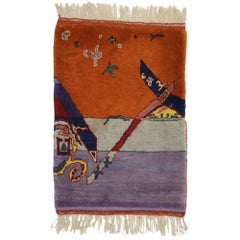 Vintage Chinese Art Deco Rug Wall Hanging, Maximalist Surrealism Tapestry