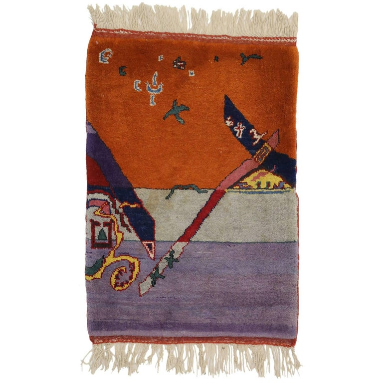 Vintage Chinese Art Deco Rug Wall Hanging, Maximalist Tapestry