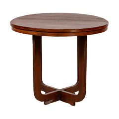 Vintage Chinese Art Deco Style Round Side Table with X-Form Stretcher