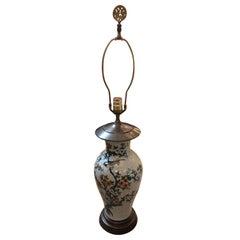 Vintage Chinese Bird Motife Porcelain Table Lamp