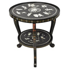 Vintage Chinese Black Lacquer Mother of Pearl Inlay Round Occasional Side Table