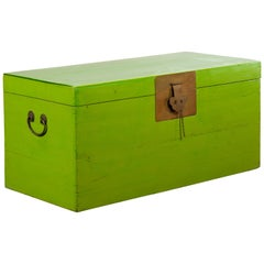 Vintage Chinese Blanket Chest with Vivid Green Lacquer and Brass Hardware