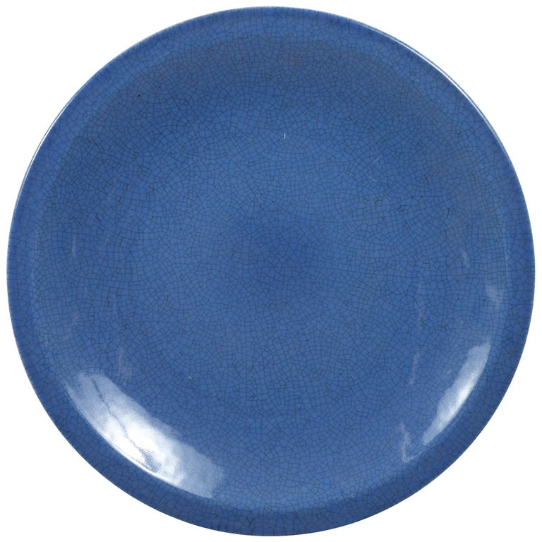 Vintage Chinese Blue Ceramic Charger Plate from the 1980s For Sale