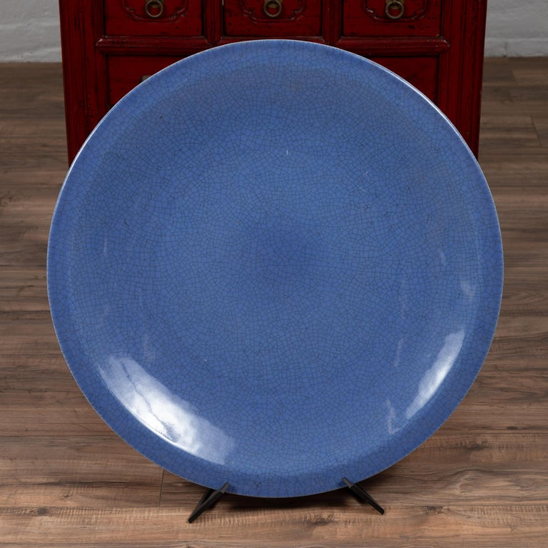 Vintage Chinese Blue Ceramic Charger Plate from the 1980s In Good Condition For Sale In Yonkers, NY