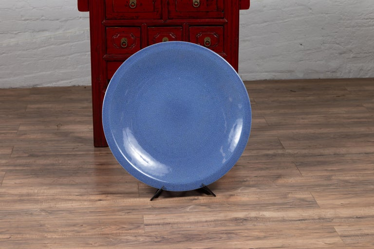 20th Century Vintage Chinese Blue Ceramic Charger Plate from the 1980s For Sale