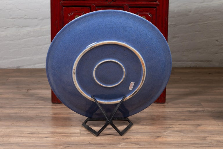 Vintage Chinese Blue Ceramic Charger Plate from the 1980s For Sale 2