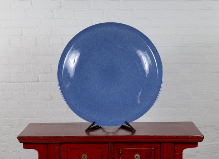 Vintage Chinese Blue Ceramic Charger Plate from the 1980s For Sale 3