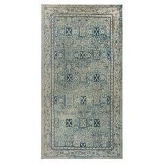 Vintage Chinese Blue Handwoven Wool Rug