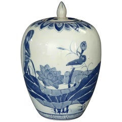 Chinese Blue and White Pictorial Porcelain Jar with Marsh Scene, 20th Century