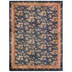Vintage Chinese Botanic Blue, Gold & Beige Wool Carpet
